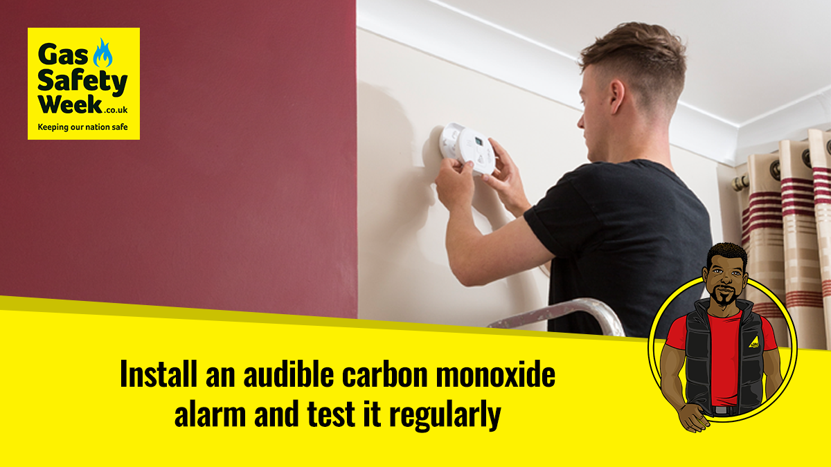 Install an audible carbon monoxide alarm and test it regularly